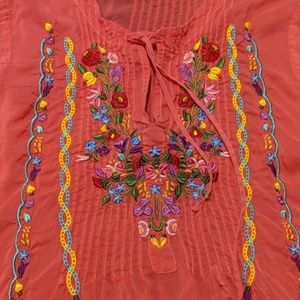 Johnny Was pintucked coral tunic top